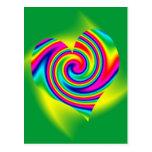 Heart Shaped Rainbow Twirl Post Card