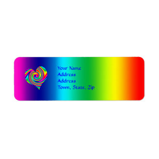 Heart Shaped Rainbow Twirl Return Address Label
