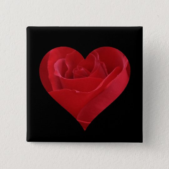 Heart Shaped Rose Button/Pin 15 Cm Square Badge