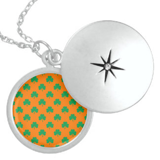 Heart-Shaped Shamrock Green on Orange St.Patrick's Pendant