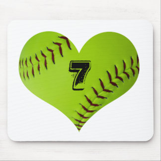 Heart shaped softball heart mouse pad