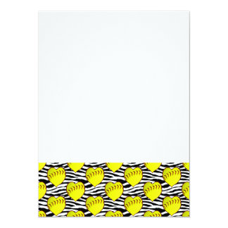 Heart Shaped Softballs On Zebra Pattern 14 Cm X 19 Cm Invitation Card