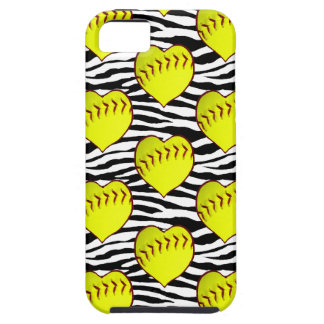 Heart Shaped Softballs On Zebra Pattern iPhone 5 Case