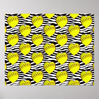 Heart Shaped Softballs On Zebra Pattern Poster