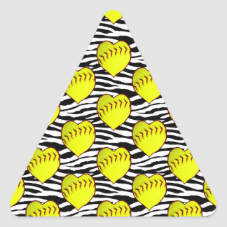 Heart Shaped Softballs On Zebra Pattern Triangle Sticker