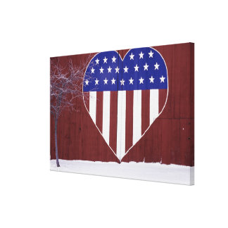 Heart-Shaped Stars and Stripes Canvas Print