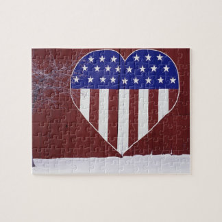 Heart-Shaped Stars and Stripes Puzzles