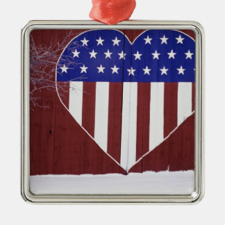 Heart-Shaped Stars and Stripes Silver-Colored Square Decoration