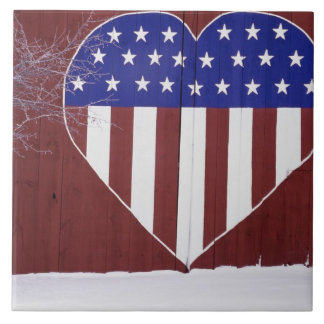 Heart-Shaped Stars and Stripes Tile