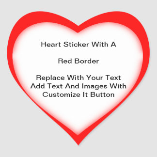 Heart Shaped Stickers With A Red Border In Sheets
