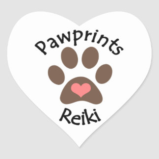 Heart shaped stickers with Pawprint Reiki logo