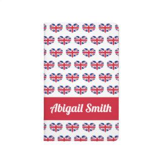 Heart Shaped UK Flag / Union Jack Personalized Journal