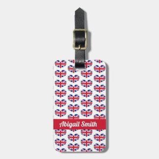 Heart Shaped UK Flag / Union Jack Personalized Luggage Tag