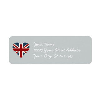 Heart Shaped Union Jack Flag Return Address Label