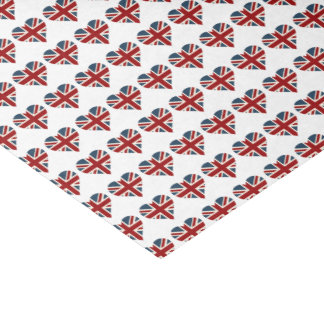 Heart Shaped Union Jack Flag Tissue Paper