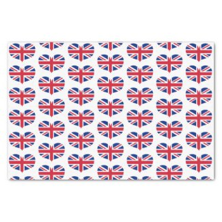 Heart Shaped United Kingdom Flags / Union Jack Tissue Paper