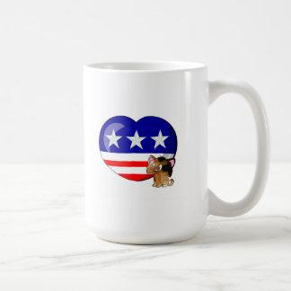 Heart-shaped USA Flag Basic White Mug