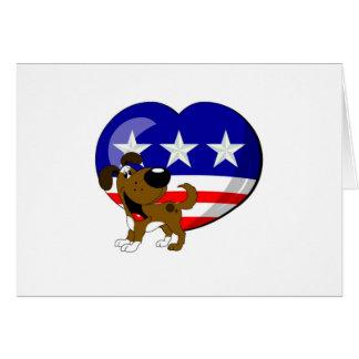 Heart-shaped USA Flag Greeting Card