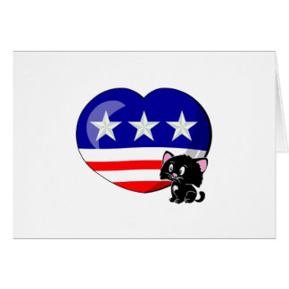 Heart-shaped USA Flag Greeting Cards