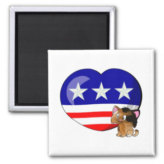 Heart-shaped USA Flag Refrigerator Magnets