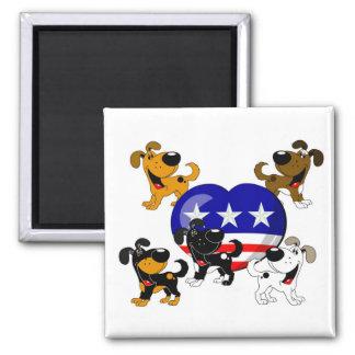 Heart-shaped USA Flag Square Magnet