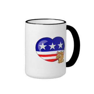 Heart-shaped USA Flag Coffee Mugs