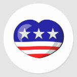 Heart-shaped USA Flag Round Sticker