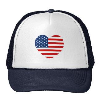 Heart shaped USA US flag Cap