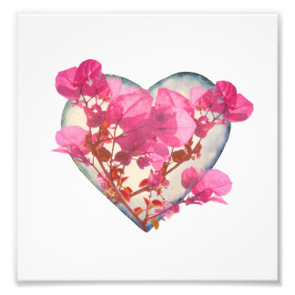 Heart Shaped with Flowers Digital Collage Art Photo