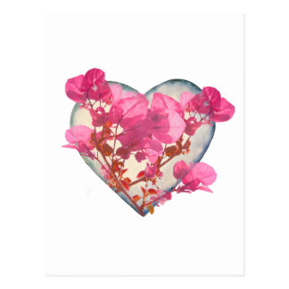 Heart Shaped with Flowers Digital Collage Postcard