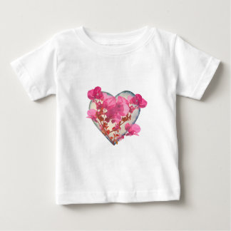 Heart Shaped with Flowers Digital Collage Tshirts