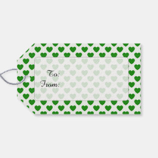 Heart Shapes Filled with Emerald Green  Roses Gift Tags