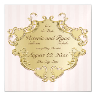 Heart Shield and Stripes Save the Date Magnetic Invitations
