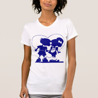 Heart Silhouette Boy and Girl Kiss T Shirt