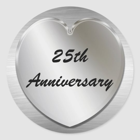 Heart Silver Anniversary Stickers