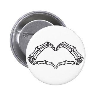 Heart skeleton hand sign 6 cm round badge