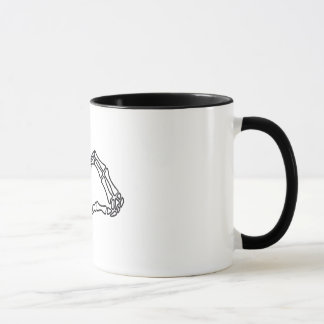 Heart skeleton hand sign mug