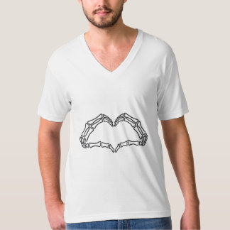 Heart skeleton hand sign t shirts