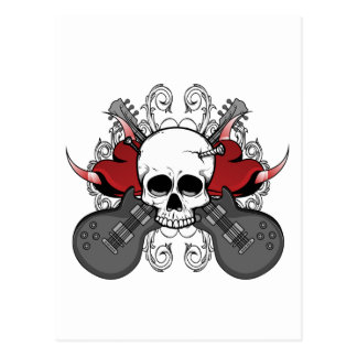 Heart Skull Guitar Postcard