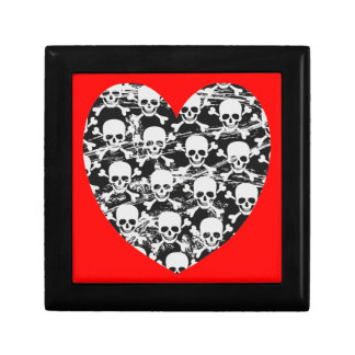 Heart skull with crossbones gift box