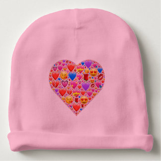 Heart smiley baby beanie