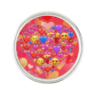 Heart smiley lapel pin
