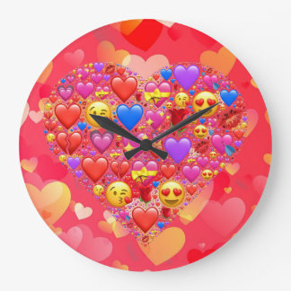 Heart smiley large clock