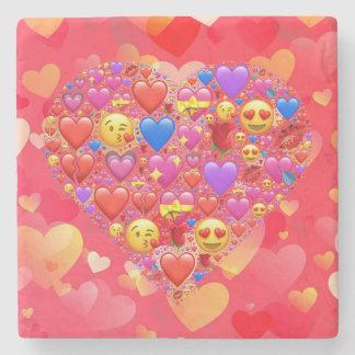 Heart smiley stone coaster