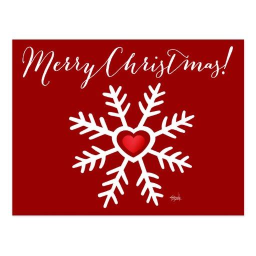 Heart Snowflake Christmas   berry Postcards