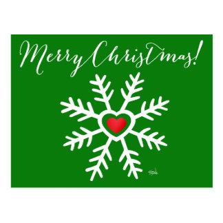 Heart Snowflake Christmas   green Postcard