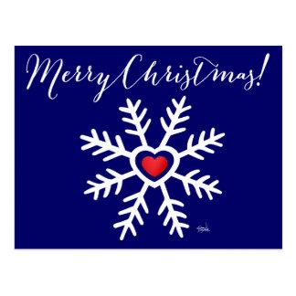 Heart Snowflake Christmas   navy Postcard