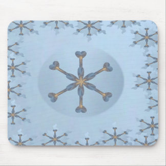 Heart Snowflake with Border Mouse Pads