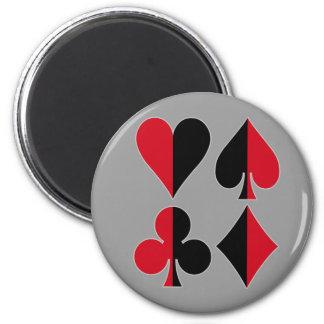 Heart Spade Diamond Club 6 Cm Round Magnet