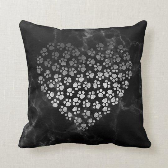 Heart Sparkly Metallic Marble Gray Silver Stone Cushion